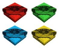 Комплект различных подарочных коробок цвета, украшенный с черным шнурком Стоковые Фотографии RF