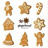 Комплект различных пряников: человек, рождественская елка, колокол, звезда, снежинка, тросточка конфеты и дом Проиллюстрированный Стоковые Фотографии RF