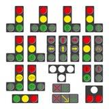 Комплект различных светофоров изолированных на белизне Стоковое Изображение RF