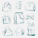 Комплект различных сумок, эскиз, вектор Стоковое Изображение