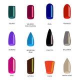 Комплект различных форм ногтей на белизне Значки формы ногтя Стоковое Изображение RF