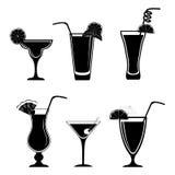 Комплект различных черных коктеилей Стоковое Изображение