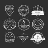 Комплект различных шаблонов логотипа для стоит вверх полощущ athirst иллюстрация вектора