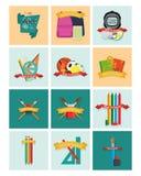 комплект различных школьных принадлежностей Стоковые Фото