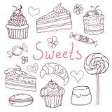 Комплект различных doodles, нарисованных рукой помадок и эскизов конфет Стоковая Фотография