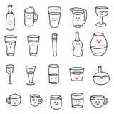 Комплект различных doodles, эскизов нарисованных рукой грубых простых различных типов спиртных и безалкогольных пить Стоковые Изображения RF