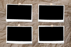 Комплект рамки фото с лентой, на скомканной бумажной предпосылке текстуры Стоковые Изображения