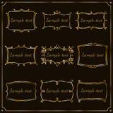 Комплект рамок золота в винтажном стиле вектор Стоковая Фотография