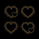 Комплект рамок золота декоративных в форме сердца иллюстрация штока