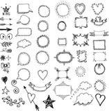 Комплект рамок нарисованных рукой, рассекателей, элементов границ декоративных стоковые изображения rf
