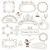 Комплект рамок рождества doodle Стоковые Изображения
