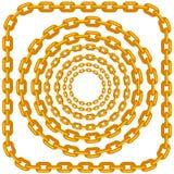 Комплект рамок цепи золота круга иллюстрация штока