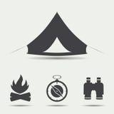 Комплект располагаясь лагерем значков Стоковая Фотография
