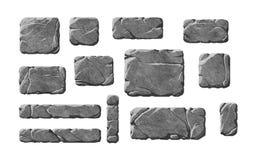 Комплект реалистических каменных кнопок и элементов Стоковые Фото