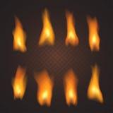 Комплект реалистических прозрачных влияний огня, в векторе Стоковая Фотография RF