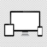 Комплект реалистического монитора компьютера, цифровой таблетки и мобильного телефона с пустым экраном Изолированный на прозрачно Стоковое Изображение