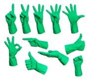 Комплект резиновых знаков руки перчаток Стоковые Изображения