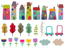 Комплект ремесла Дома, деревья, цветки Стоковое Изображение