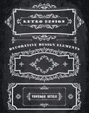 Комплект ретро винтажных рамок и границ Предпосылка доски мела бесплатная иллюстрация
