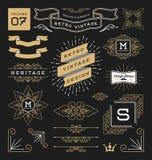 Комплект ретро винтажных элементов графического дизайна Стоковое Изображение
