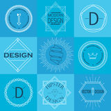 Комплект ретро винтажных Insignias и логотипов иллюстрация штока