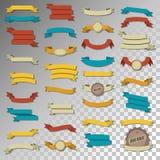 Комплект ретро ленты винтажный прозрачный Знамена в 5 цветах иллюстрация вектора