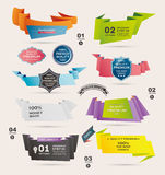 Комплект ретро лент и ярлыков, знамена Origami, Стоковые Изображения