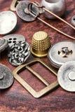 Комплект ретро железных кнопок стоковая фотография rf