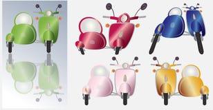 Комплект ретро мотоцилк и sidecar самоката иллюстрация штока