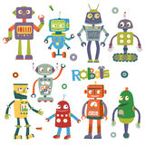 Комплект роботов вектора в стиле шаржа Стоковые Изображения