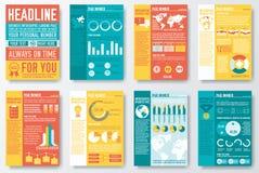 Комплект рогульки и брошюры плоского infographics и иллюстрация штока
