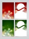 Комплект рогульки праздника вектора, шаблонов поздравительной открытки рождества Стоковые Изображения
