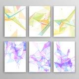Комплект рогульки, шаблонов дизайна брошюры геометрическо иллюстрация вектора