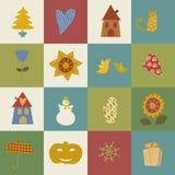 комплект Рожденственской ночи Нового Года поздравительной открытки счастливый иллюстрация штока
