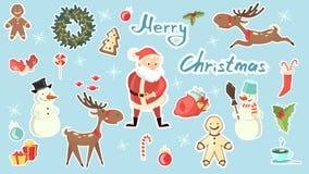 комплект рождества веселый иллюстрация штока