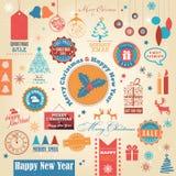 Комплект рождества винтажный ретро Стоковые Фотографии RF