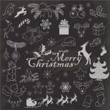 Комплект рождества возражает на темной предпосылке Иллюстрация эскиза чертежа руки вектора Стоковые Изображения RF