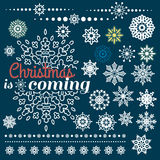 Комплект рождества границ с снежинками Стоковые Изображения