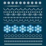 Комплект рождества границ с снежинками Стоковая Фотография RF