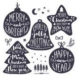 Комплект рождества и Нового Года каллиграфический Стоковые Изображения