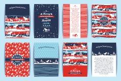 Комплект рождества и Нового Года Шаблоны дизайна вектора иллюстрация вектора