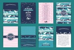 Комплект рождества и Нового Года Шаблоны дизайна вектора бесплатная иллюстрация