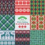 Комплект рождества и Нового Года Шотландка и связанное безшовное бесплатная иллюстрация