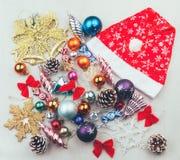 Комплект рождества и Новых Годов украшений Стоковые Изображения