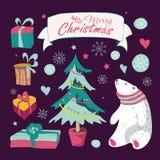 Комплект рождества и Новых Годов элементов графика Стоковая Фотография RF