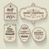 Комплект рождества и счастливые ярлыки значков Нового Года с чистым современным введенным в моду дизайном Стоковое Изображение RF