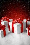 Комплект рождества подарочной коробки на выставке Стоковое Фото