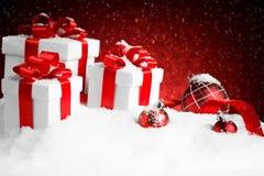 Комплект рождества подарочной коробки на выставке Стоковое Изображение RF
