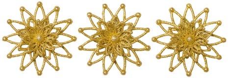Комплект рождества снежинки декоративный, хлопь снега искры золота Xmas Стоковое фото RF
