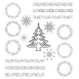 Комплект рождества элементов дизайна - шаблонов, бирок, снежинок, гирлянды, рамки, рождественской елки иллюстрация вектора